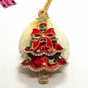 NWT Betsey Johnson Red Christmas Tree Necklace.